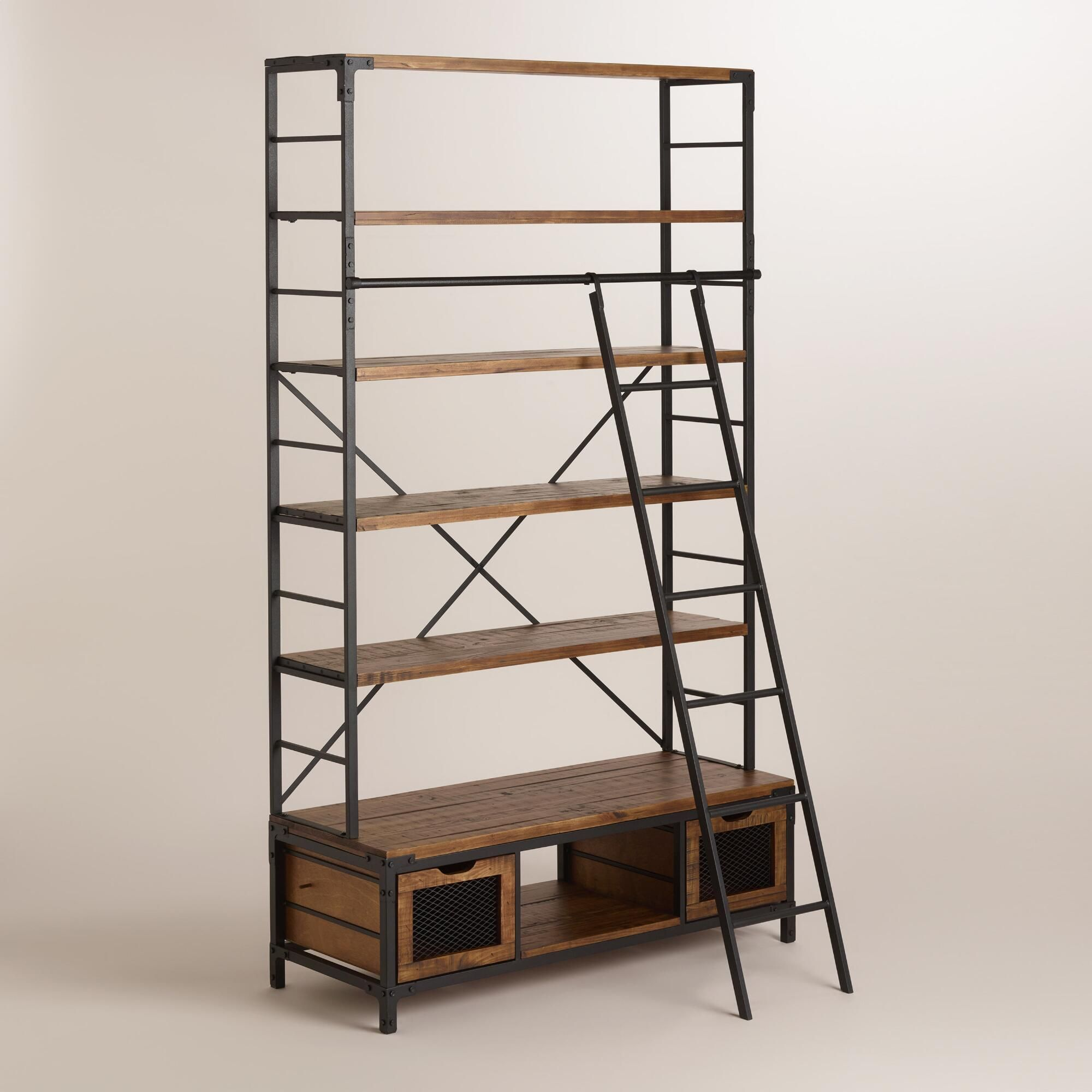 bookish appeal meets industrial edge in our distressed wood and metal bookcase with four broad. Black Bedroom Furniture Sets. Home Design Ideas