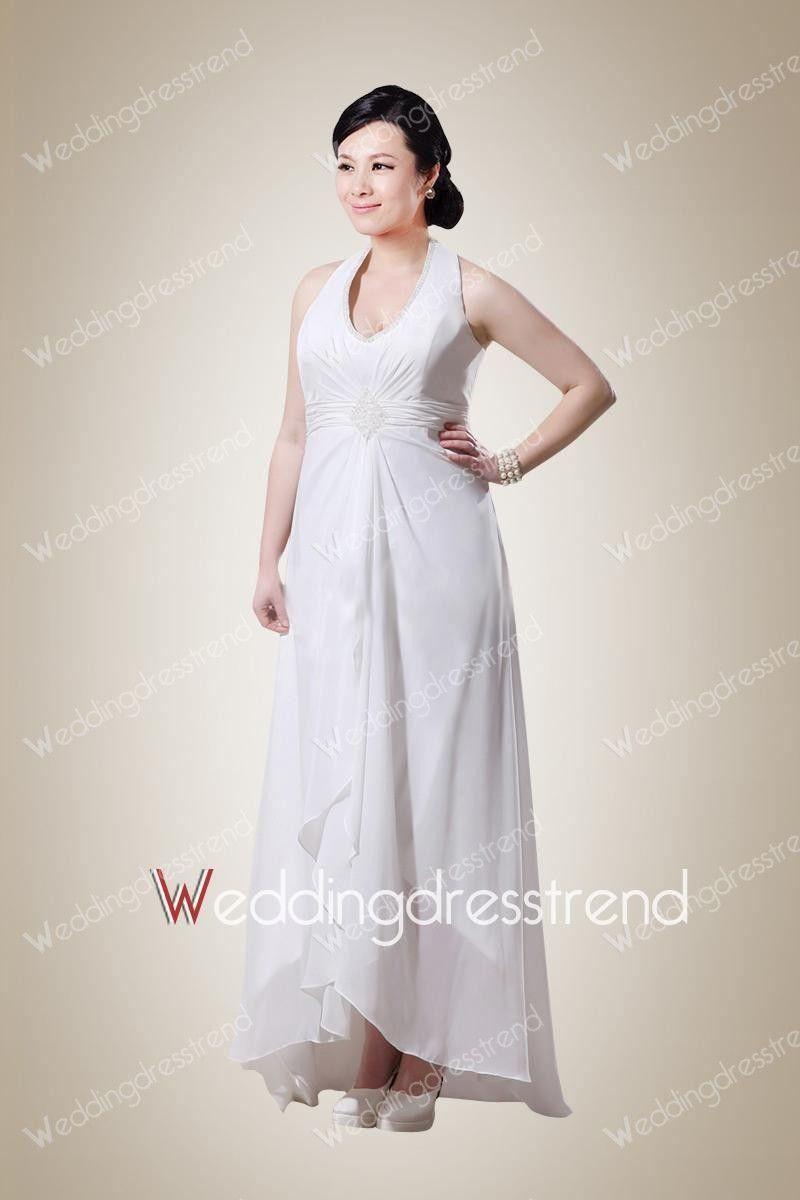 Plus size long dresses for wedding  Chic Sheath Halter Beaded Plus Size Wedding Dress  Plus Size