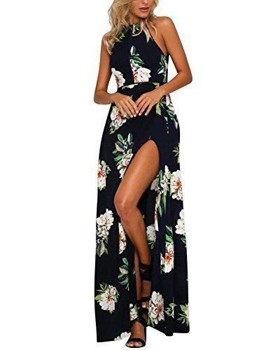 189fd6b0c Oferta  15.94€. Comprar Ofertas de Vestidos de Fiesta Largos de Noche -  Halter Desnudos Hendidura - Estampado Flore - para Boda Fiesta Partido  Playa barato.
