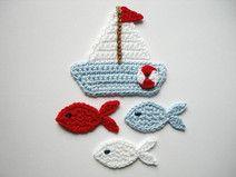 Häkelapplikation, Segelboot mit Fischen