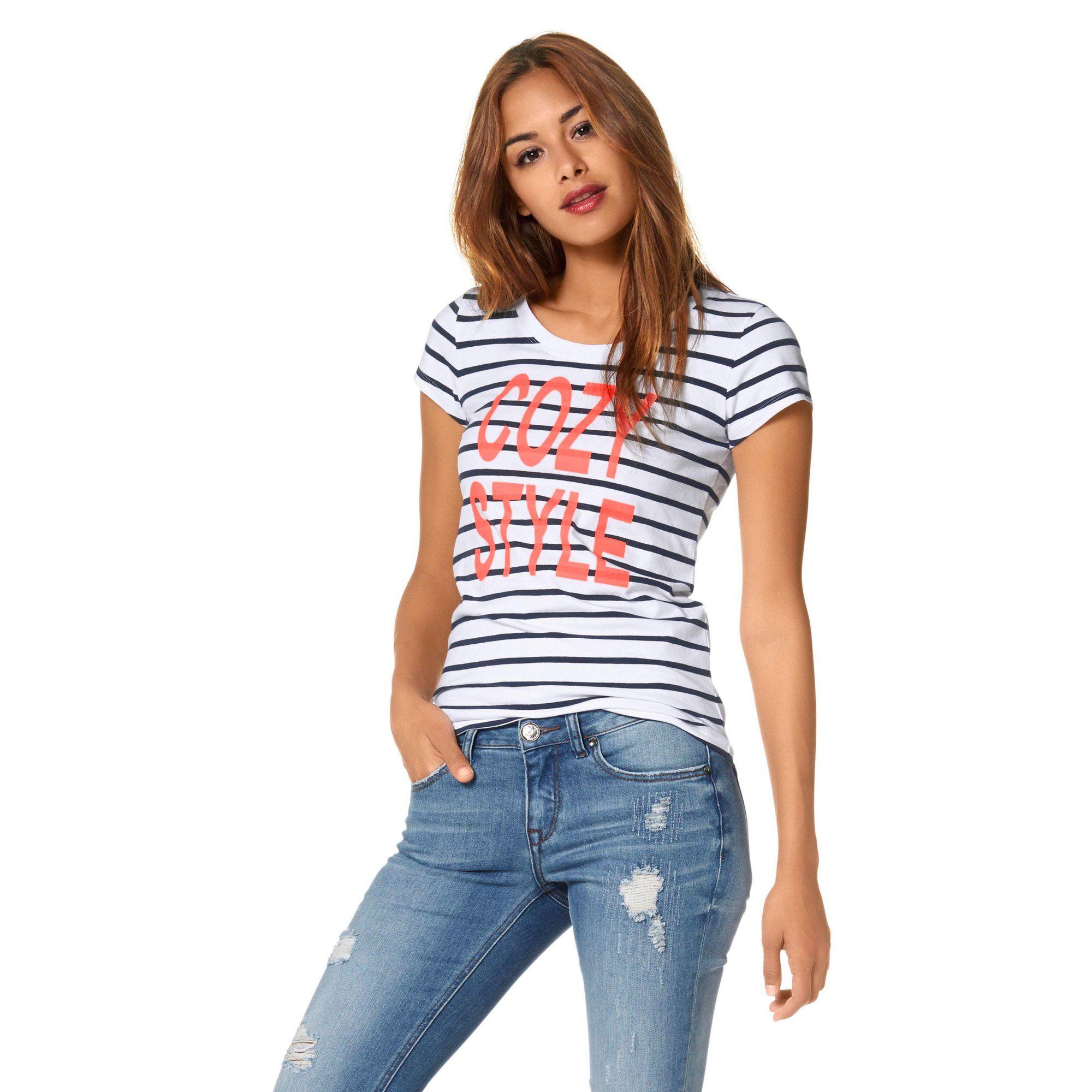 8868a1fb8a634 T-shirt rayé manches courtes marinière femme AJC   Marins d eau ...