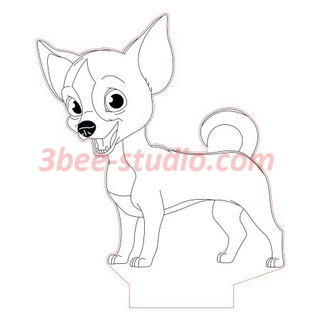 Funny Pincher Dog 3d Illusion Lamp Plan Vector File Op Desenhos