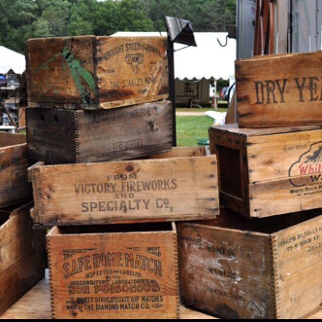 Antique wooden crates i need to know where i can find an old crate like this for a decorative - Decorative wooden crates ...