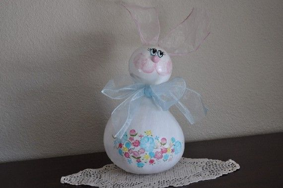 Blue Gourd Easter Bunny by countrycarver on Etsy, $16.00