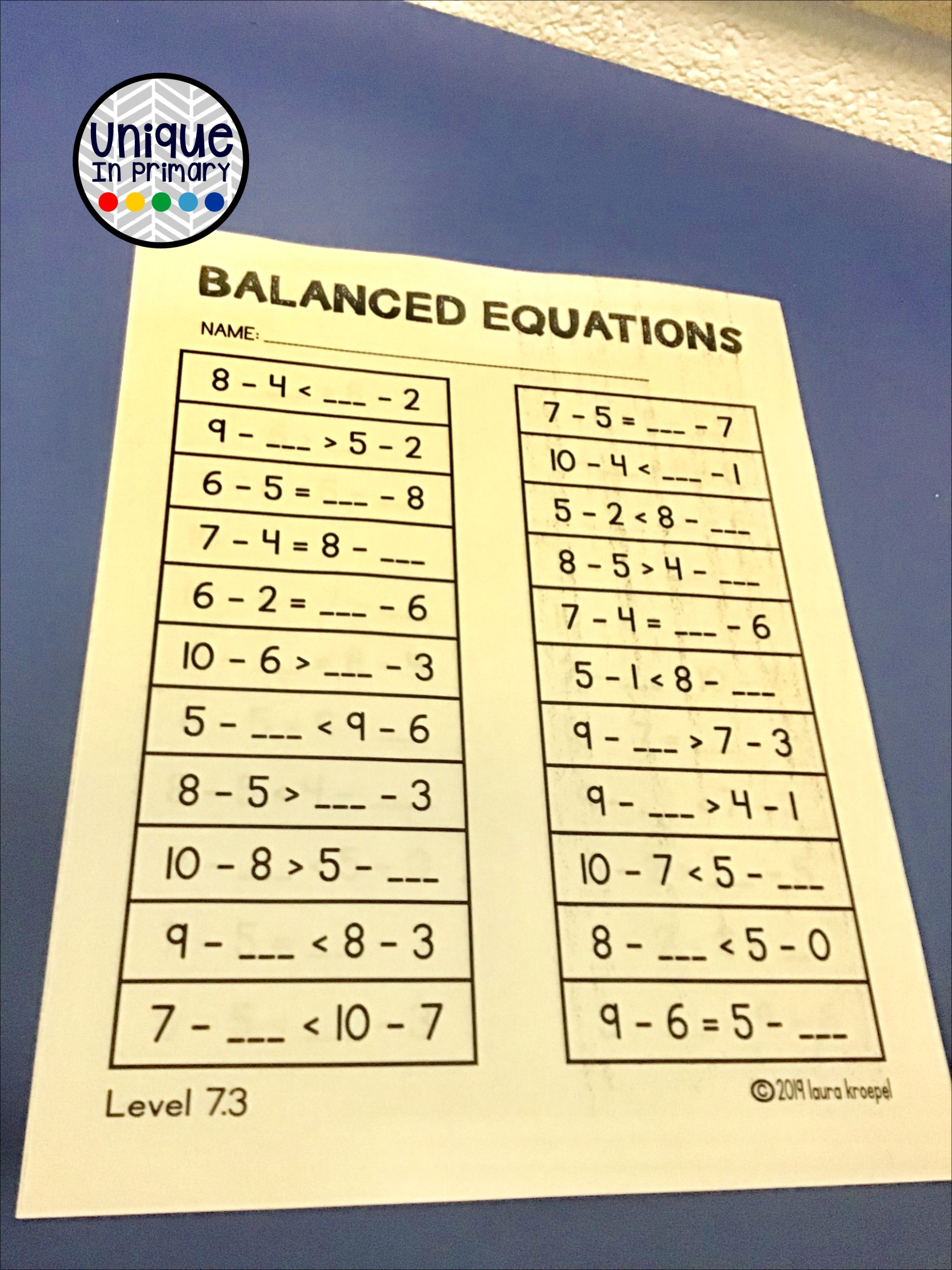 Balanced Equations Addition Subtraction Equal To And 0