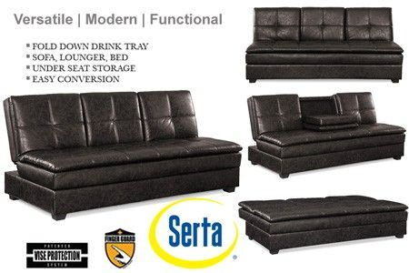 Serta Kingsley Three Seater Breathable Soft Leather Fabric ...