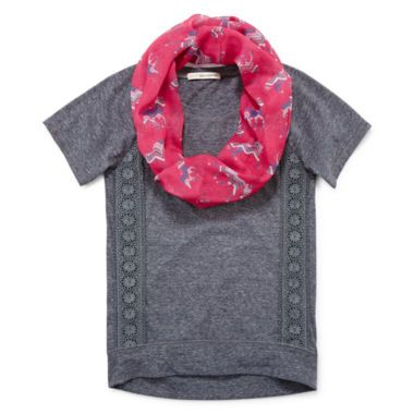 Self Esteem® Lace Tee and Scarf - Girls 7-16 and Plus  found at @JCPenney
