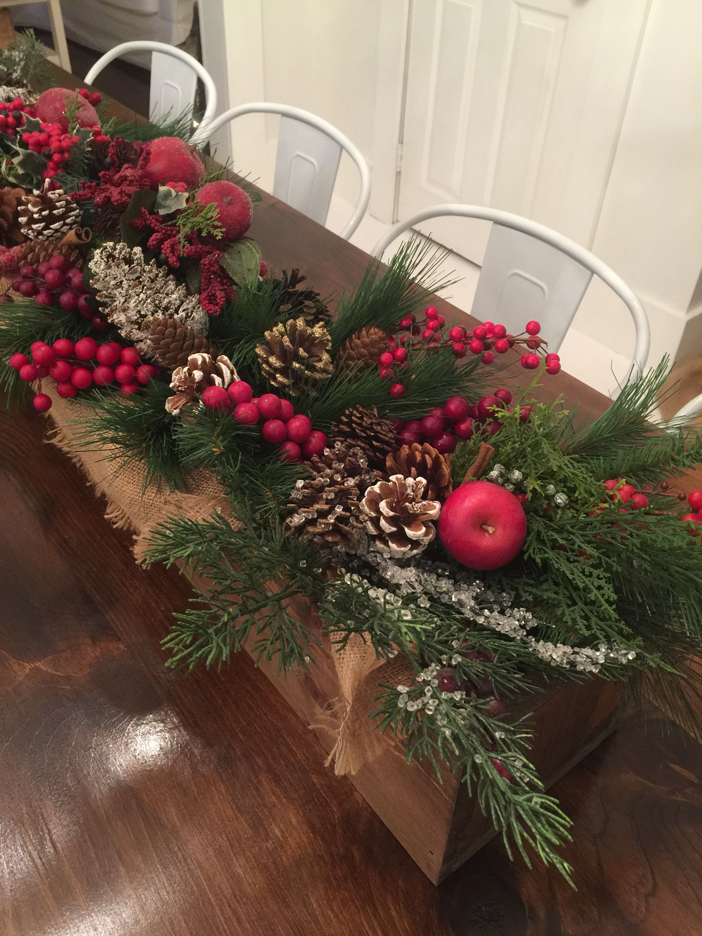 wooden box christmas centerpiece with burlap berries greenery pine cones apples - Wooden Box Christmas Decorations