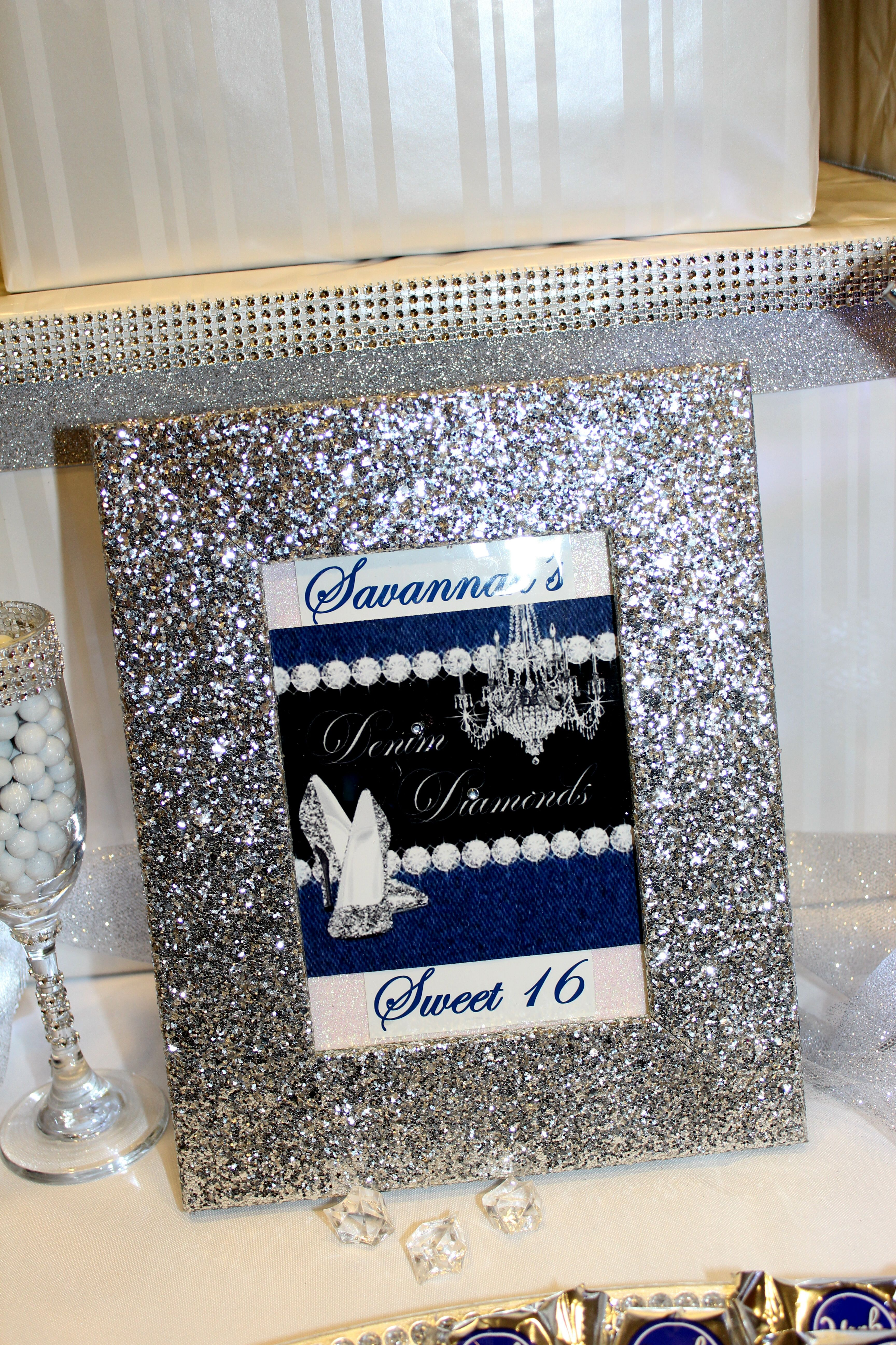Sweet amp sparkly wedding candy buffet pictures to pin on pinterest - Denim Diamonds Sweet 16 Candy Table