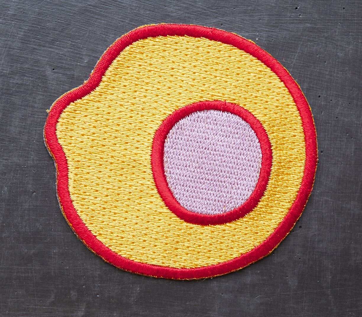 Egg Patch- Orange w. Purple yolk and Red outline
