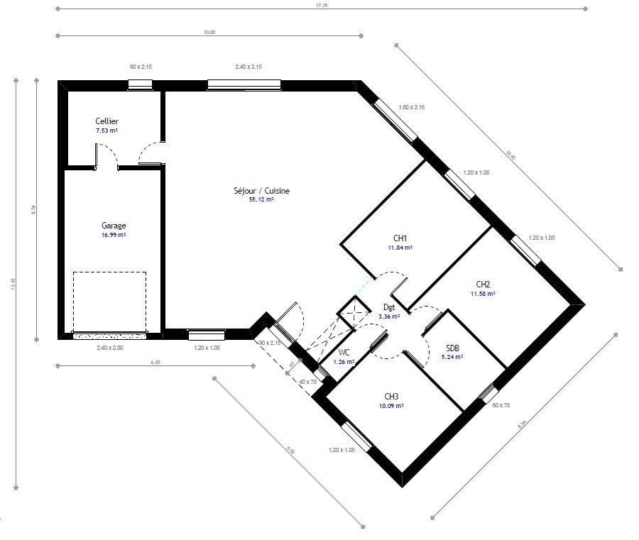 Plan 3D du0027une maison en V de plain-pied avec 3 chambres + garage