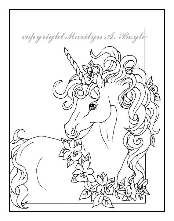 Adult Coloring Page Digital Download Unicorn Flower Wreath
