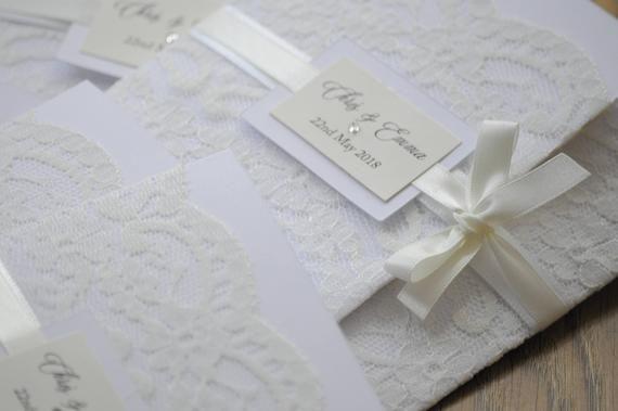 Faire-part de mariage blanc & Ivoire dentelle