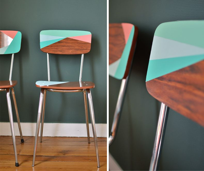 Vintage retro formica chairs revived with paint love the - Relooker chaise formica ...