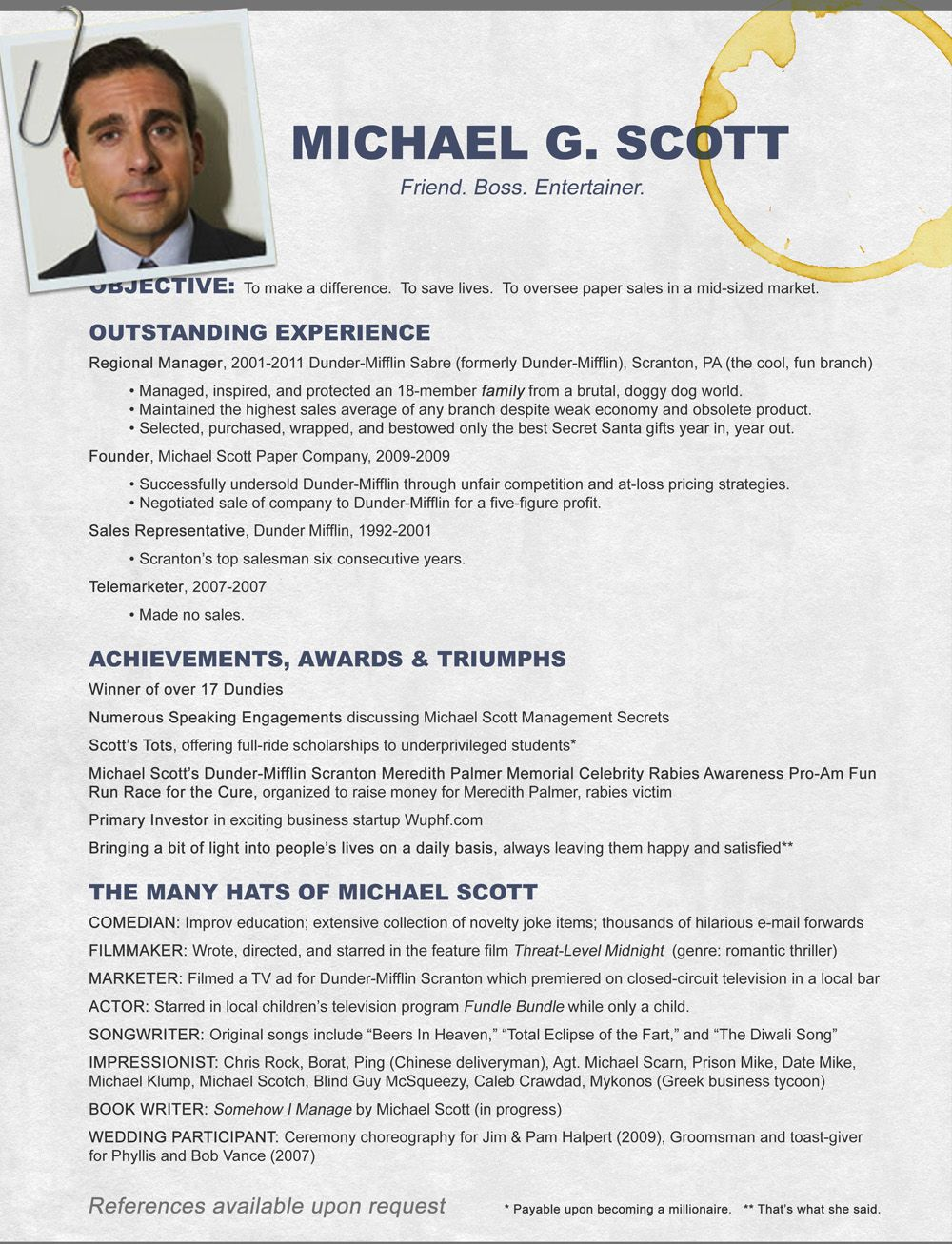 michael scott cv  the office