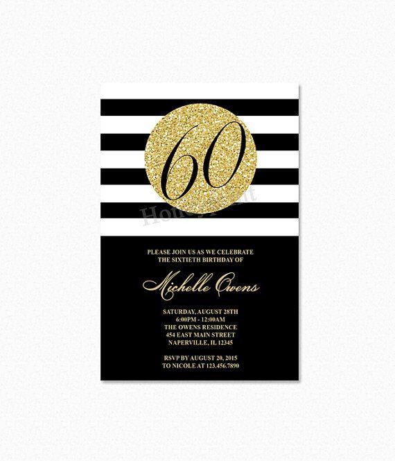 Gold Birthday Party Invitation Black And White Stripes Sweet Sixteen Milestone Printable By Honeyprint On Etsy