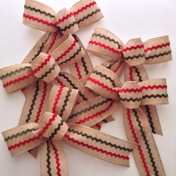 Natural Bow Cake Tree Wreath Xmas Wired Hessian Checked Christmas Ribbon