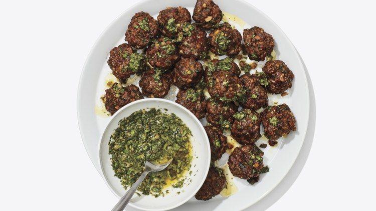 Crispy Sheet Pan Meatballs With Salsa Verde Recipe Beef Meatball Recipe Meatball Recipes Salsa Verde