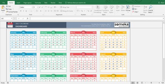Excel Calendar Template 2017 Daily/Weekly Planners Pinterest