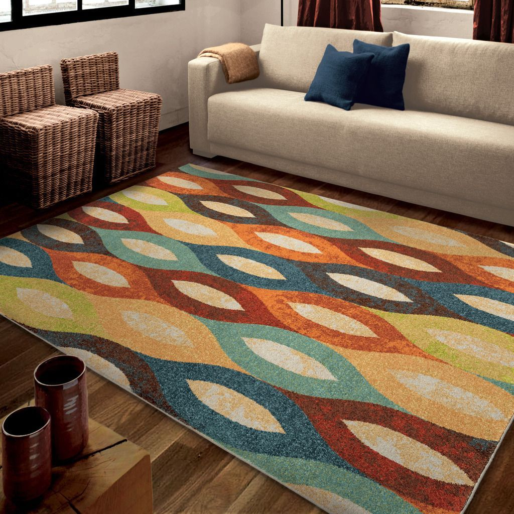 This triadic color design utilizes yellow orange and a dark shade of - Bright Color Hemel Multi Area Rug Is A Great Contemporary Take On A Common Design