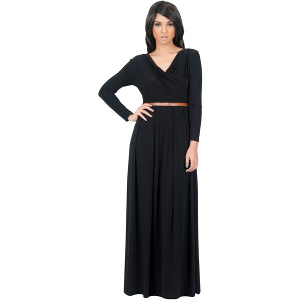 Koh Koh Black Maxi Dress, Long Sleeve Leah Crossover w/ Tan Belt long... (90 CAD) ❤ liked on Polyvore featuring dresses, gowns, black, long sleeve maxi dress, long sleeve gown, black evening dresses, pleated maxi dress, black ball gown and wrap maxi dress