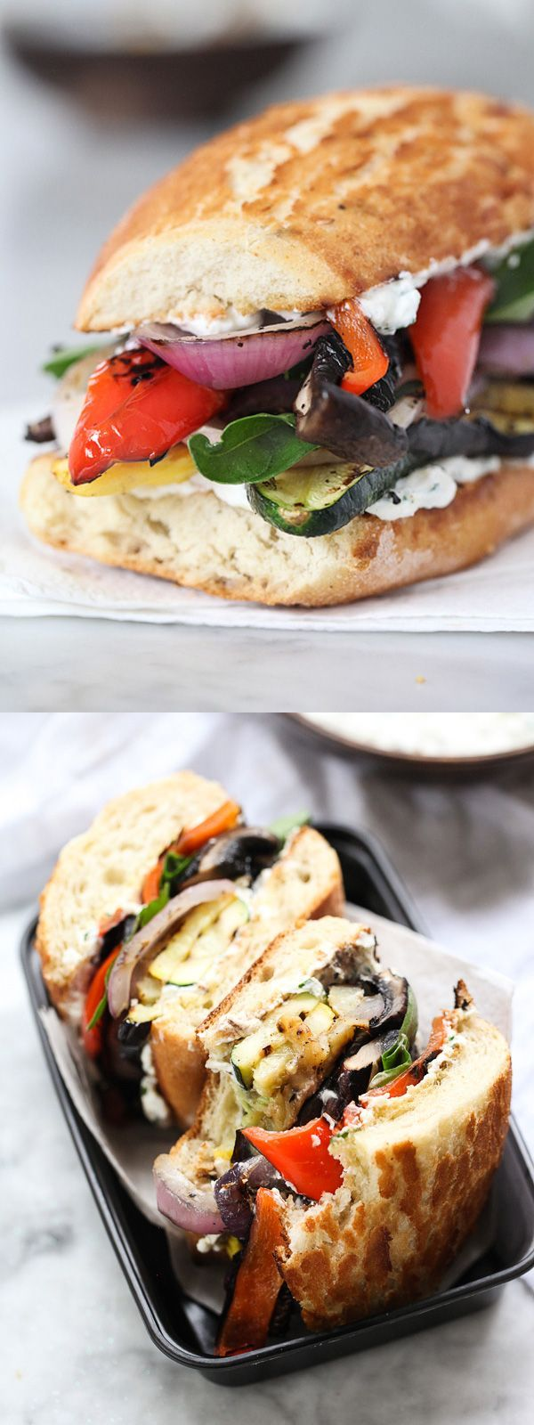 Grilled Vegetable Sandwich with Herbed Ricotta gets ...