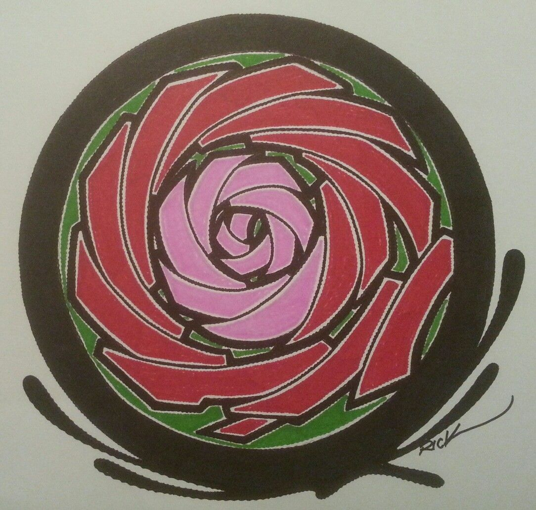 my abstract color rose style design done on 11 x 17 poster board