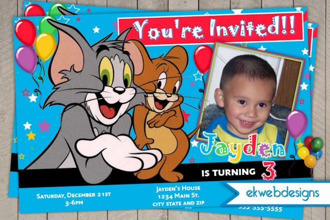 Printable Tom And Jerry Birthday Cards Free Invitations Personalized