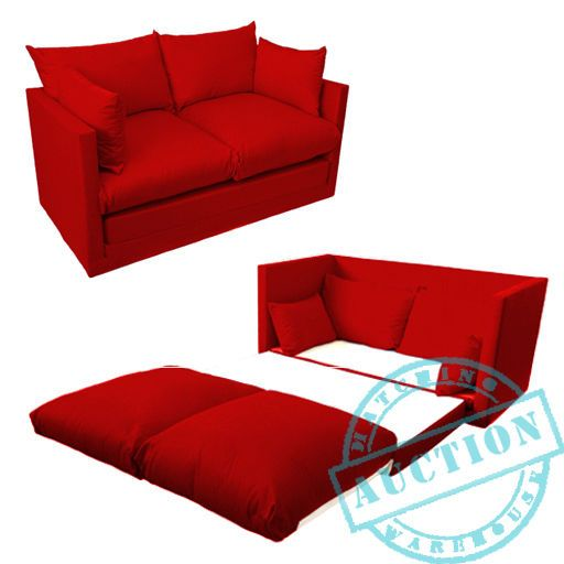 Red Fold Out 2 Seater Small Sofa Sofabed Double Guest Bed Futon Furniture