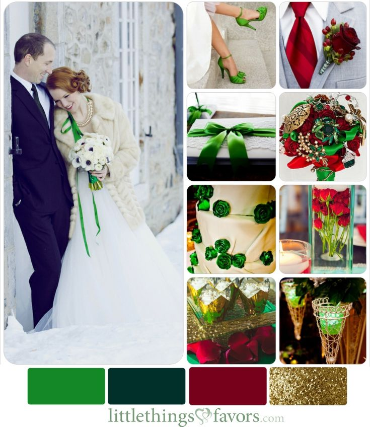 Cranberry Red Green And Gold Winter Wedding Color Inspiration Palette