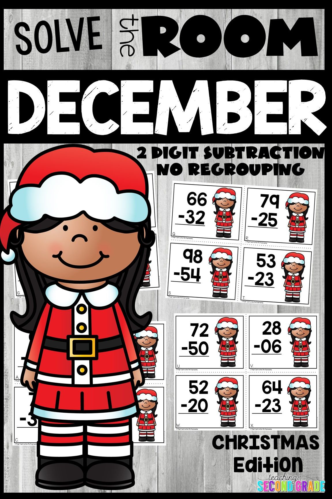 2 Digit Subtraction Without Regrouping Christmas