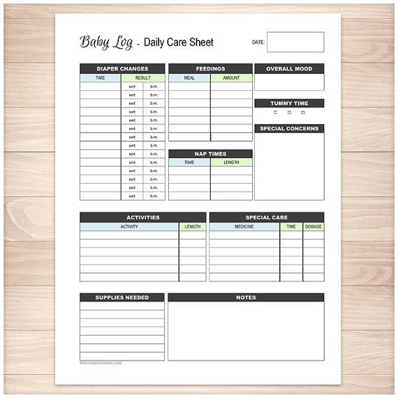 Printable Baby Log Daily Infant Care Sheet New Parent