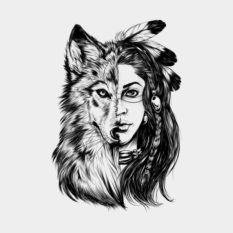 Girl Wolf In 2020 Native American Wolf Wolf Face Drawing Wolf Tattoo Sleeve