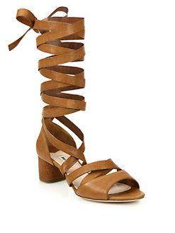 4063a7cc6b5 Miu Miu - Leather Lace-Up Gladiator Sandals