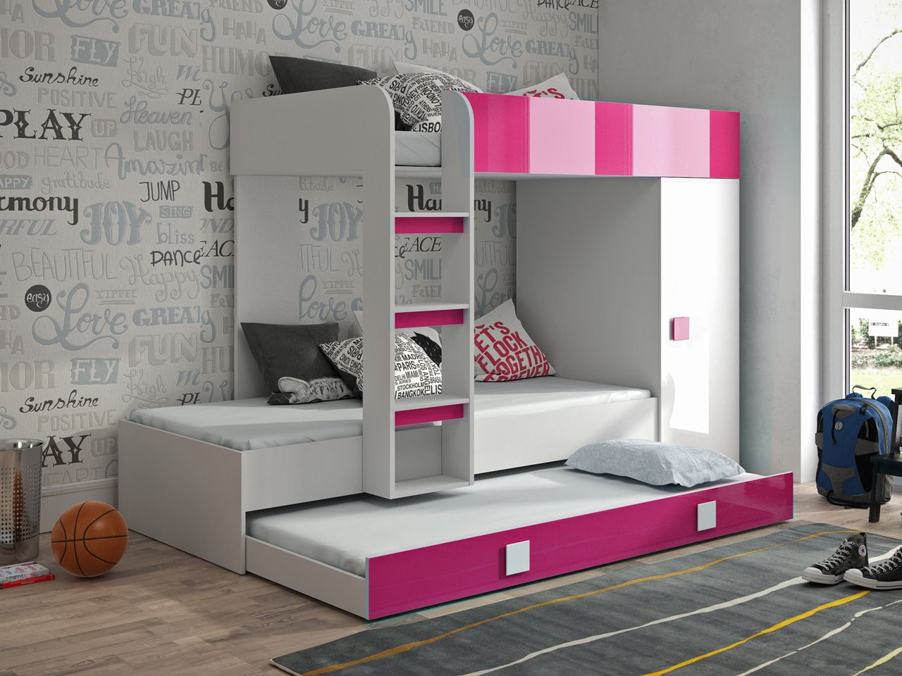 Lit Superpose Tomorrow 90x200 Cm Blanc Rose Brillant Avec Armoire A Droite Lit Superpose Etagere Lit Lit Superpose Bureau