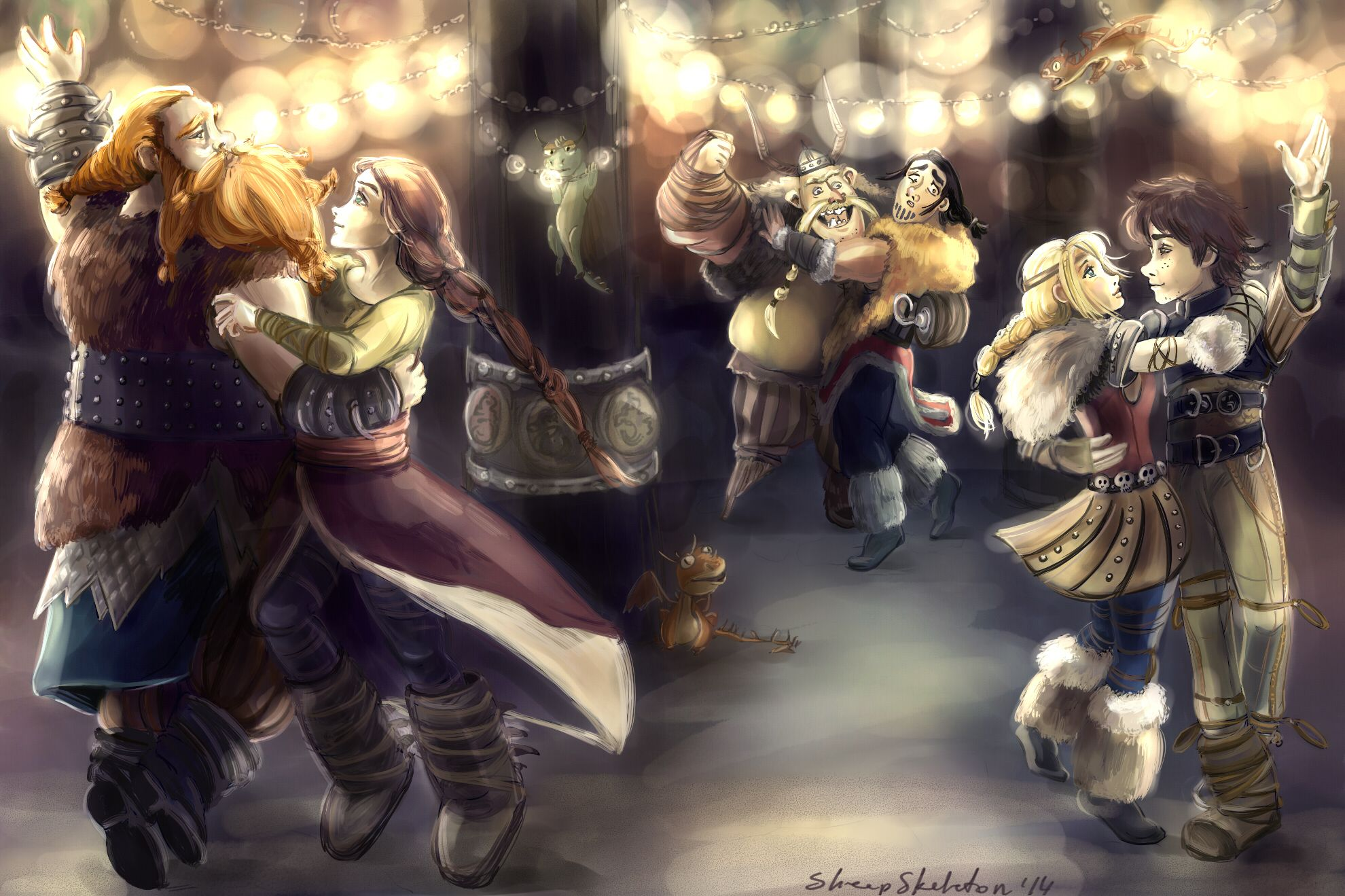 For the Dancing and Dreaming by sheepSkeleton.deviantart.com on @deviantART<<< Stoick and Valka :'( , Hiccup and Astrid, and Gobber somehow pulled Eret in the dance as well
