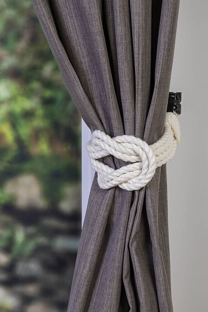 These Lovely Curtain Tiebacks Are Made Of White Ivory Cotton Rope