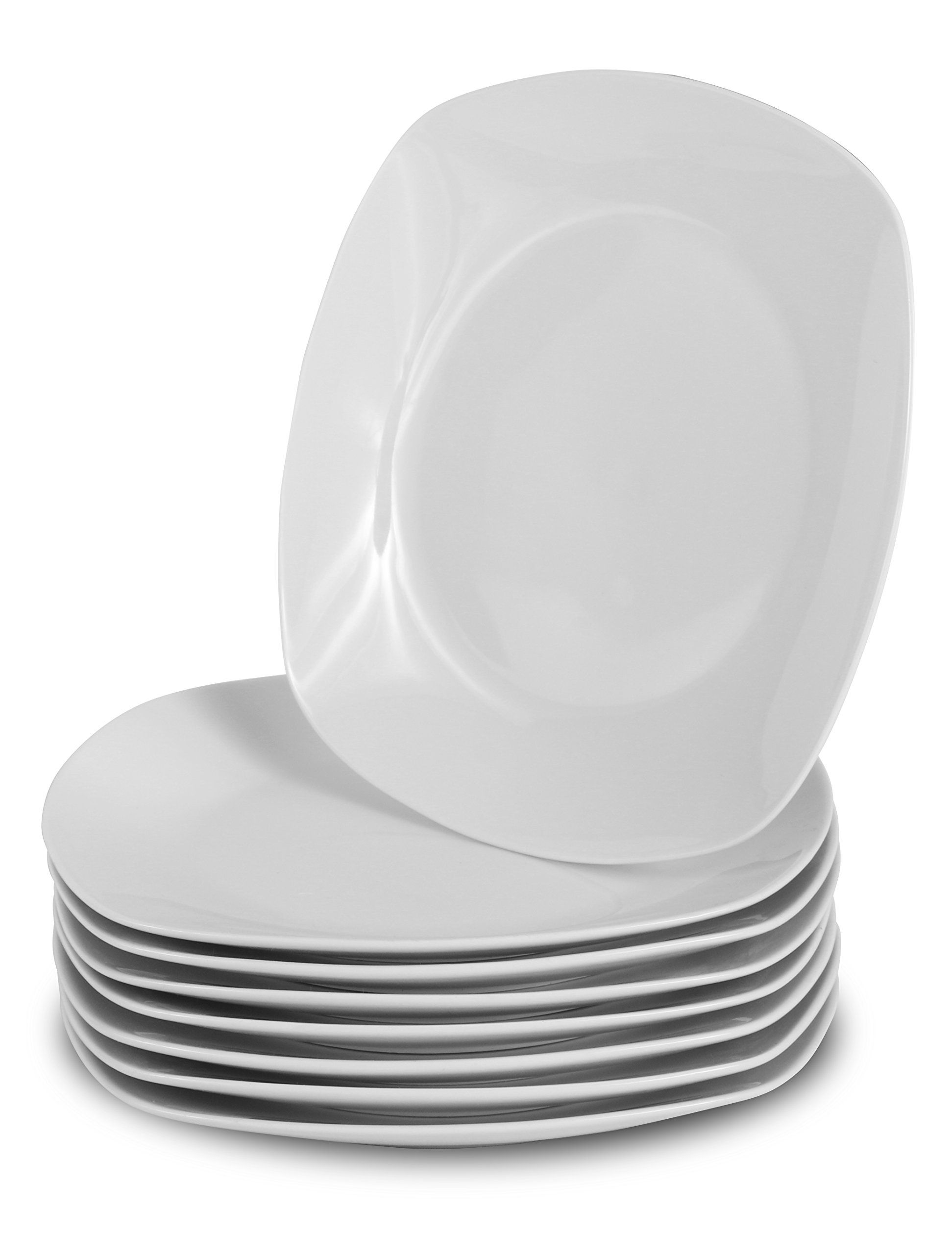 Klikel 8 White Square Dinner Plates 10inch Classic Solid Coupe Style Porcelain Dinnerware Be Sure To Check Out Thi Porcelain Dinnerware Plates Dinner Plates