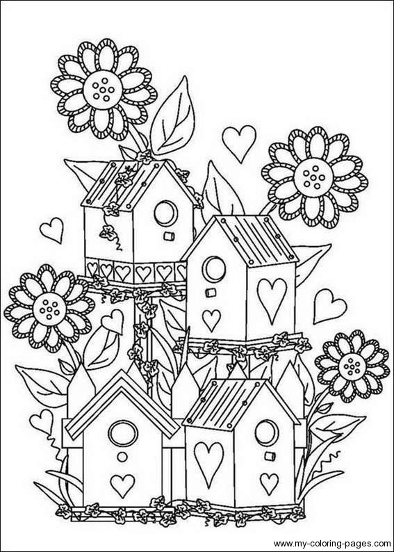 free printable birdhouse coloring pages | Birdhouse Coloring Pages | planter out of clothes pins ...
