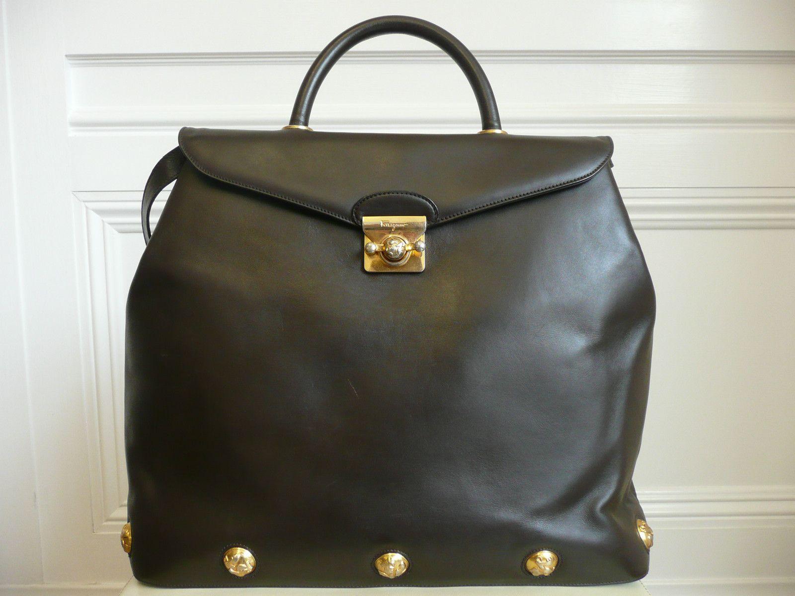 ba4a3e4684bf Vintage 1960 s SALVATORE FERRAGAMO Brown Leather Tote Bag