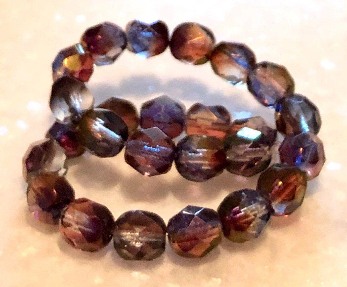 25  6 mm Czech Glass Firepolish Beads Milky Sapphire