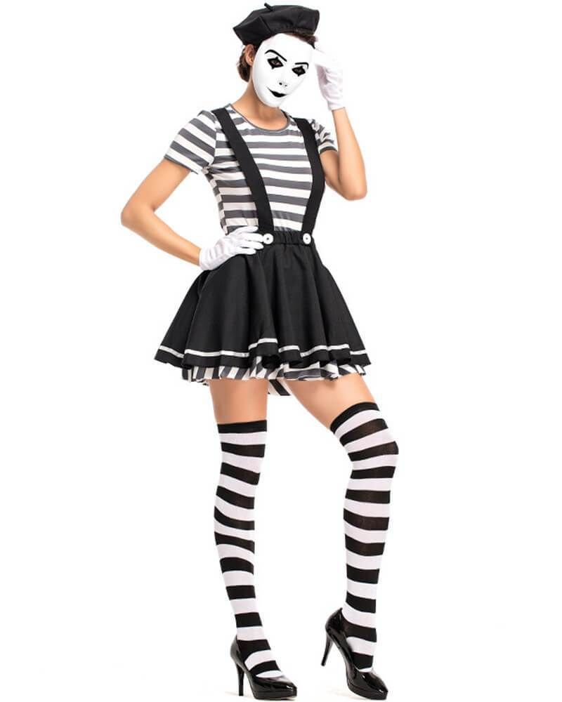 Adult Ladies Black /& White Striped Convict Thigh High Stockings Fancy Dress Cop