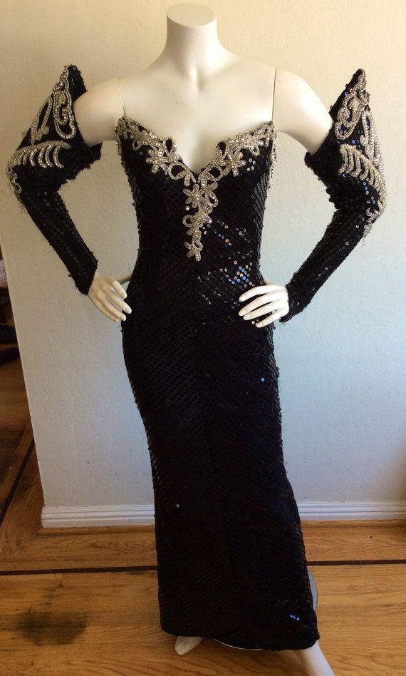 Vintage Maleficent Elvira Gown Black Sequins Rhinestones Oh My