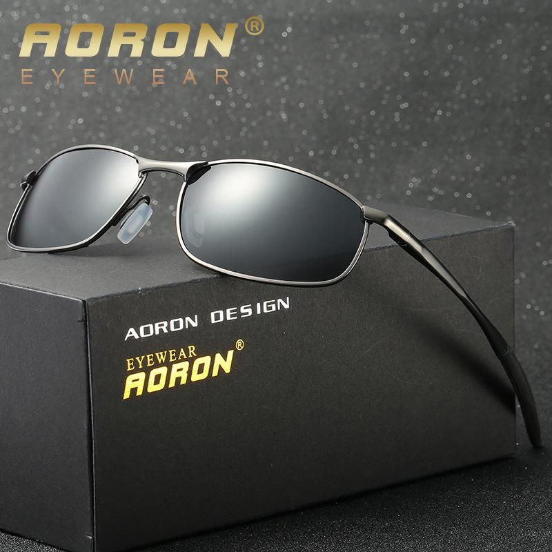 58e15f042779 AORON Brand Designer Original Male Sunglasses Men Polarized Goggles Police  Sun Glasses HD Driving Mirror Glasses oculos De Sol
