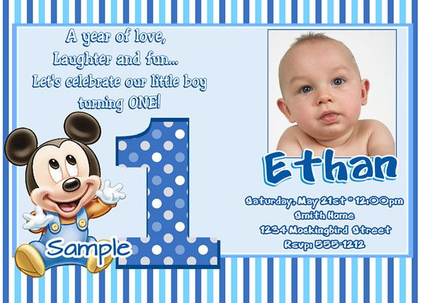 Mickey Mouse 1st Bithday Invitations First Birthday