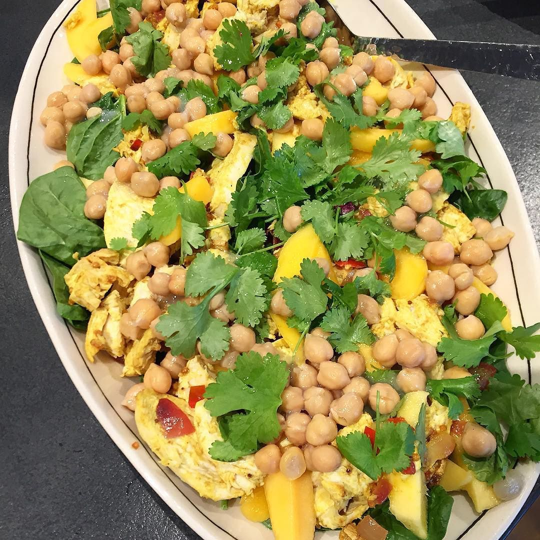 Alphonso mango and curried chicken/chickpea salad from the ottolenhi cook book. I modified the receipt to include some curried chicken. Comment for recipe.  by healthyclauds