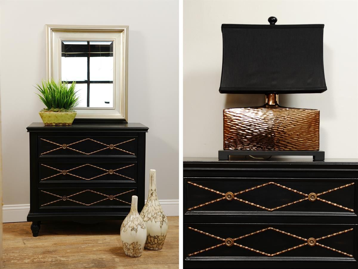 Black Chest With Gold Detail Accent Available At Hatch Furniture Flooring In Yankton Sd Marley 3 Drawer By Stein World