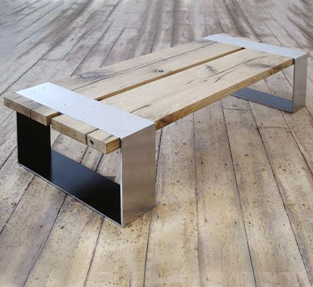 Stainless steel and oak coffee table  Sleek modern design from PachaDesign. PachaDesign   Love this for the inside or outside of my house