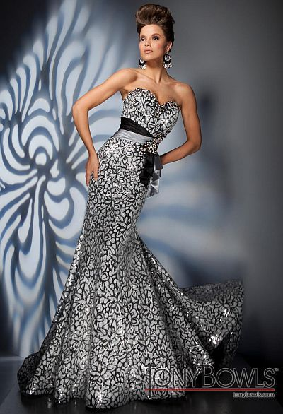 Tony Bowls Evening Gown Silver | Tony Bowls Evenings Silver Slim ...