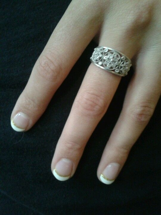 Homecoming nails - gel French tip manicure with a touch of gold sparkle - elegant with a touch of pizzazz!